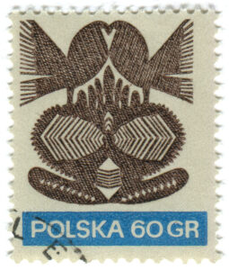 polish postal stamp which allows you to send postcards after receiving Polish Citizenship