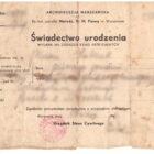 Polish document, a civil record, a certified copy of birth certificate / Świadectwo urodzenia