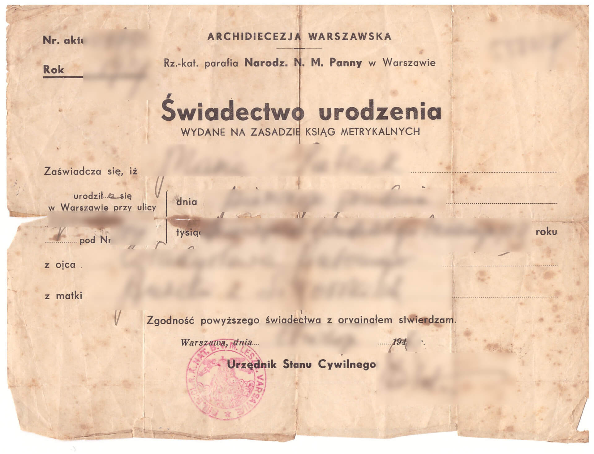 Polish document, a civil record, a certified copy of birth certificate / Świadectwo urodzenia