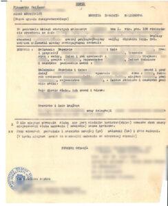 Marriage certificate (metryka zawarcia małżeństwa), vital records