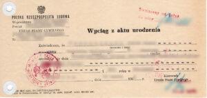 vital records, wyciąg z aktu urodzenia, birth certificate