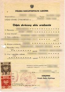 Abridged copy of birth certificate, vital records