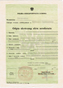 Abridged copy of birth certificate / Odpis skrócony aktu urodzenia, vital records