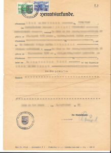 Vintage Austrian Marriage Certificate, vital records