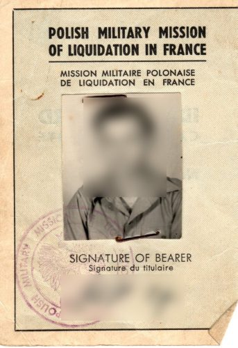 Front of ID Card Polish Military Mission of Liquidation, document useful to get polish citizenship