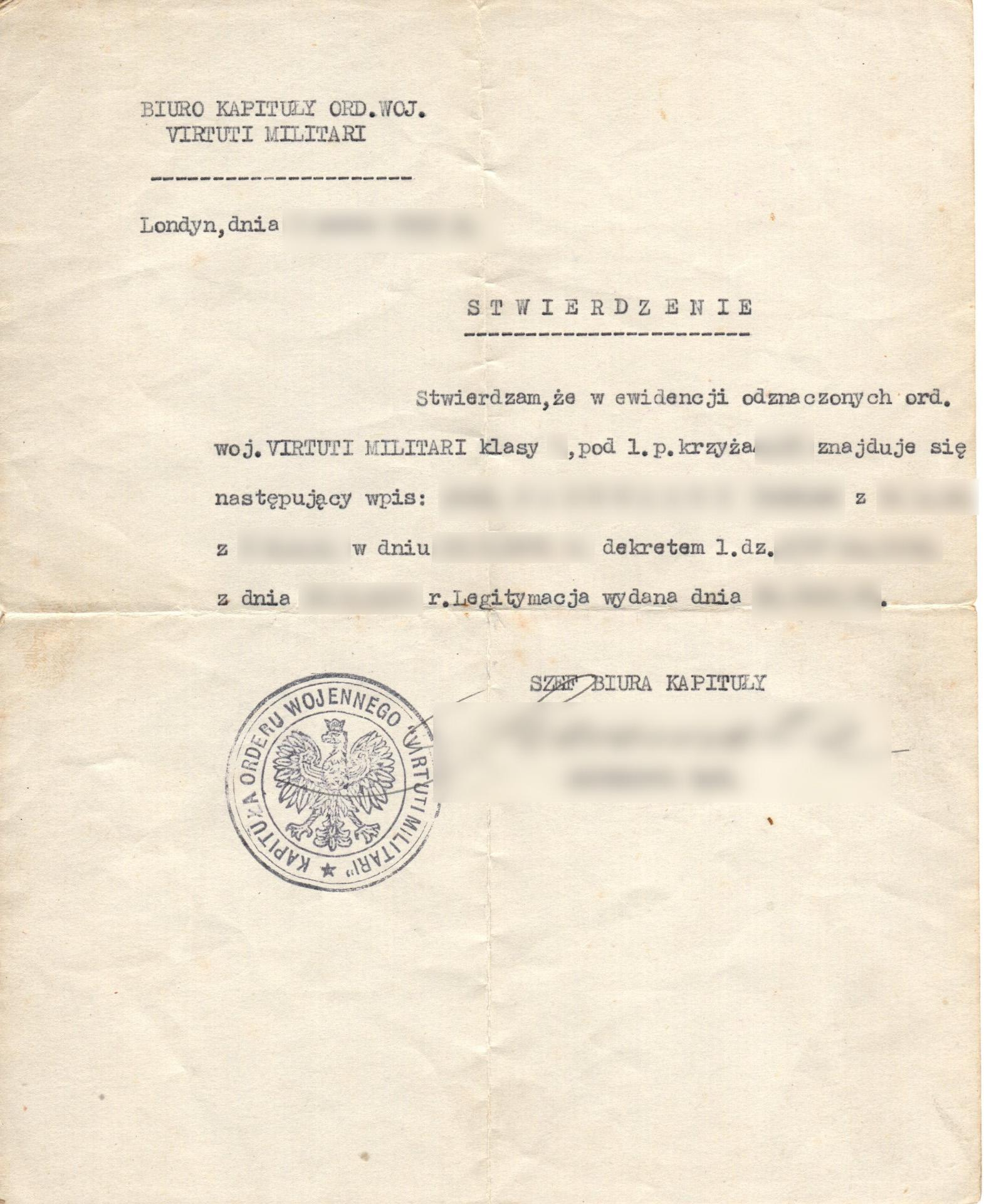 Certificate of receipt of Virtuti Militari / Zaświadczenie ws. otrzymania Virtuti Militari