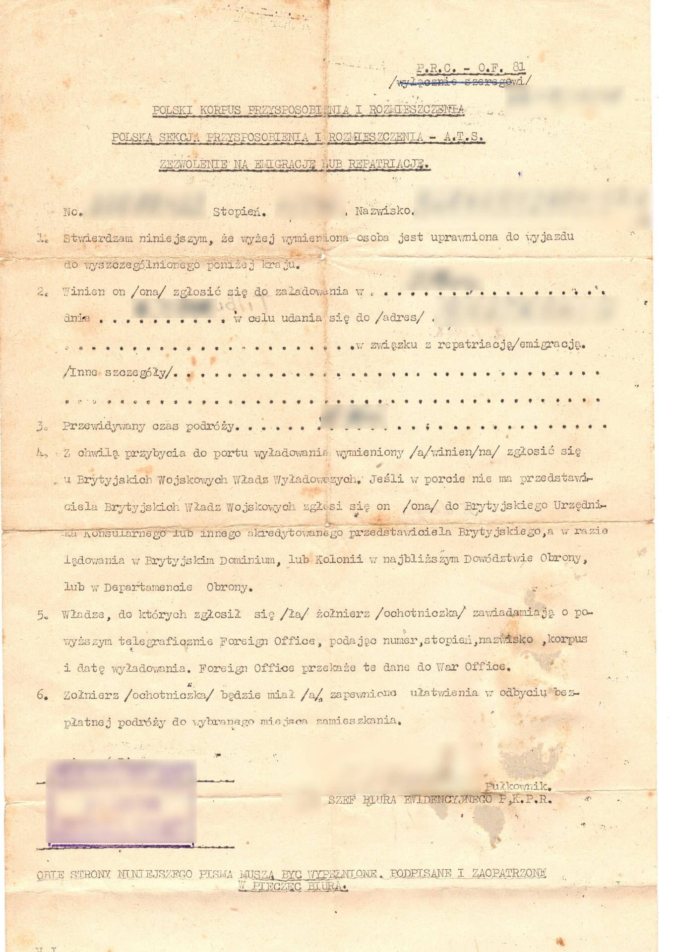 polski korpus przysposobienia i rozmieszczenia zezwolenie na emigrację lub repatriację