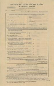polish british document autentyczny odpis umowy sluzby w wojsku stalym old military document
