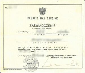 polskie sily zbrojne polish armed forces zaswiadczenie o zakonczeniu sluzby Certificate of service completion